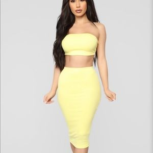 Chasing Thrills Skirt Set - Yellow